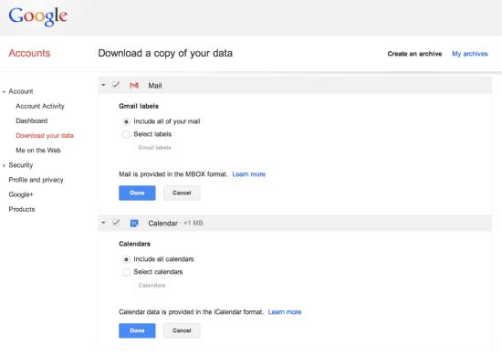 Gmail และข้อมูล Google Calendar สามารถดาว์โหลดทั้งหมดลงในคอม