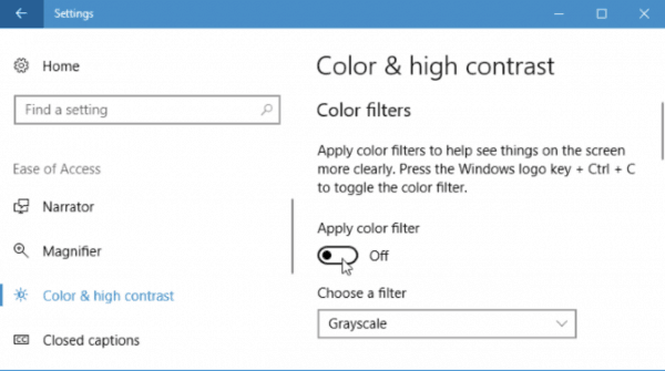 Windows 10 with grayscale screen