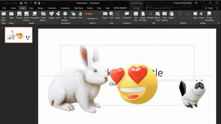 วิธีใส่ PowerPoint 3D