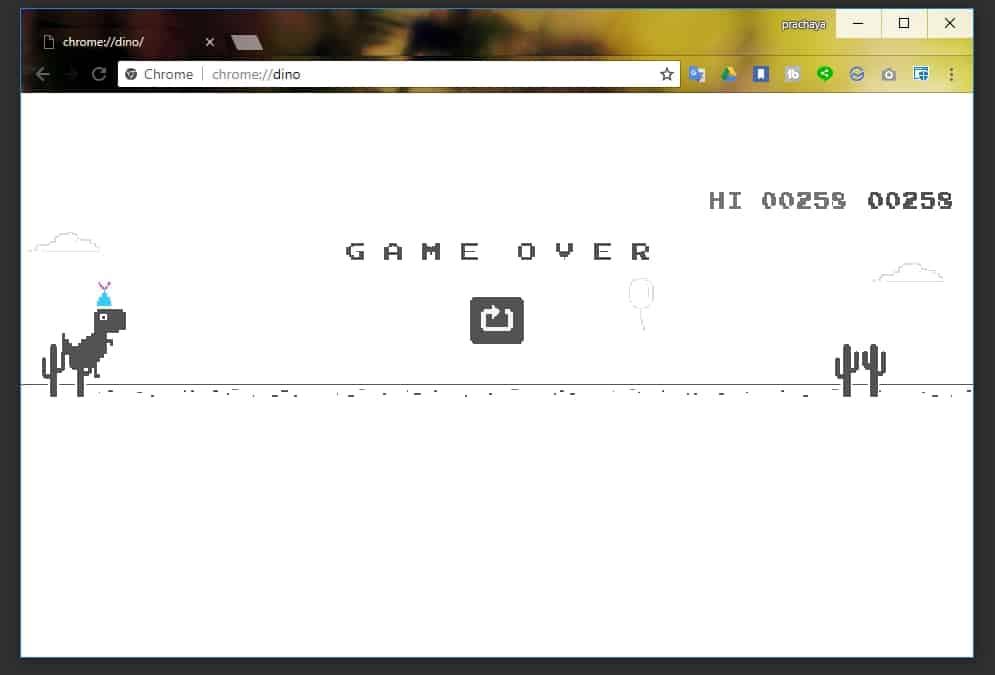 วิธีเล่นเกมไดโนเสาร์กระโดด Google บน Chrome ได้โดยไม่ต้องตัดเน็ต