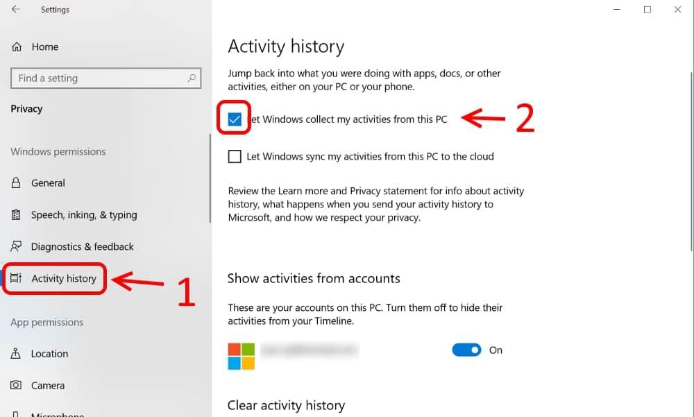 ซ่อน Windows Timeline