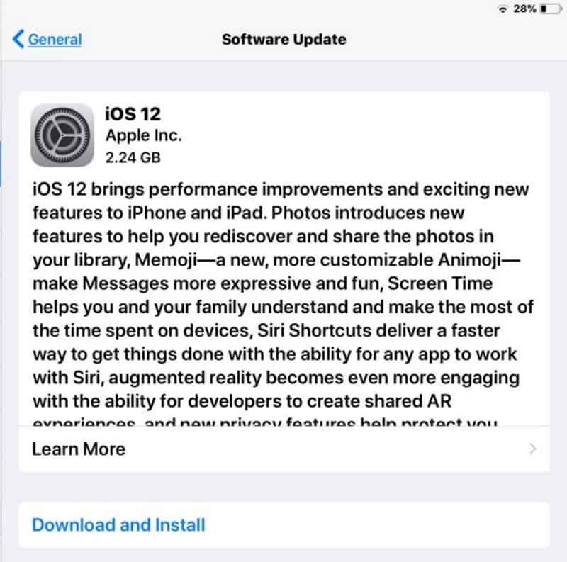 อัพเดต iOS 12