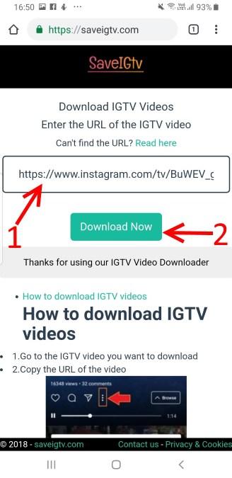 ดาวน์โหลดวีดีโอ IGTV