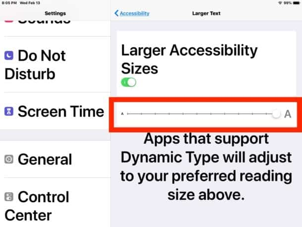 ขนาดตัวอักษรใหญ่ บน iPad