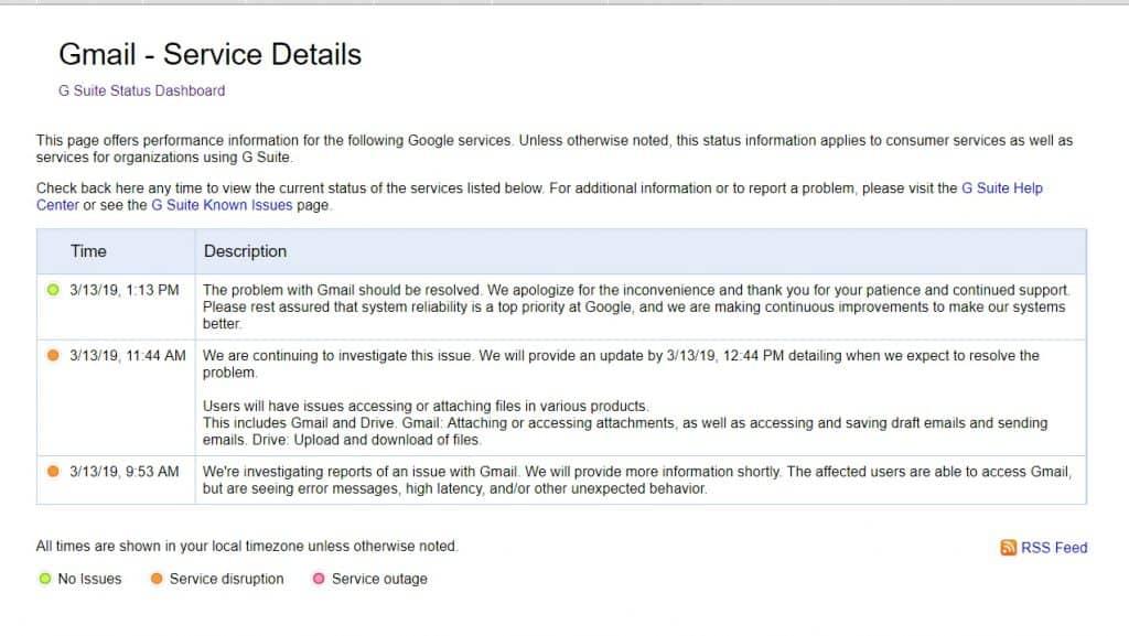 วิธีตรวจสอบเว็บไซต์ Gmail ล่ม