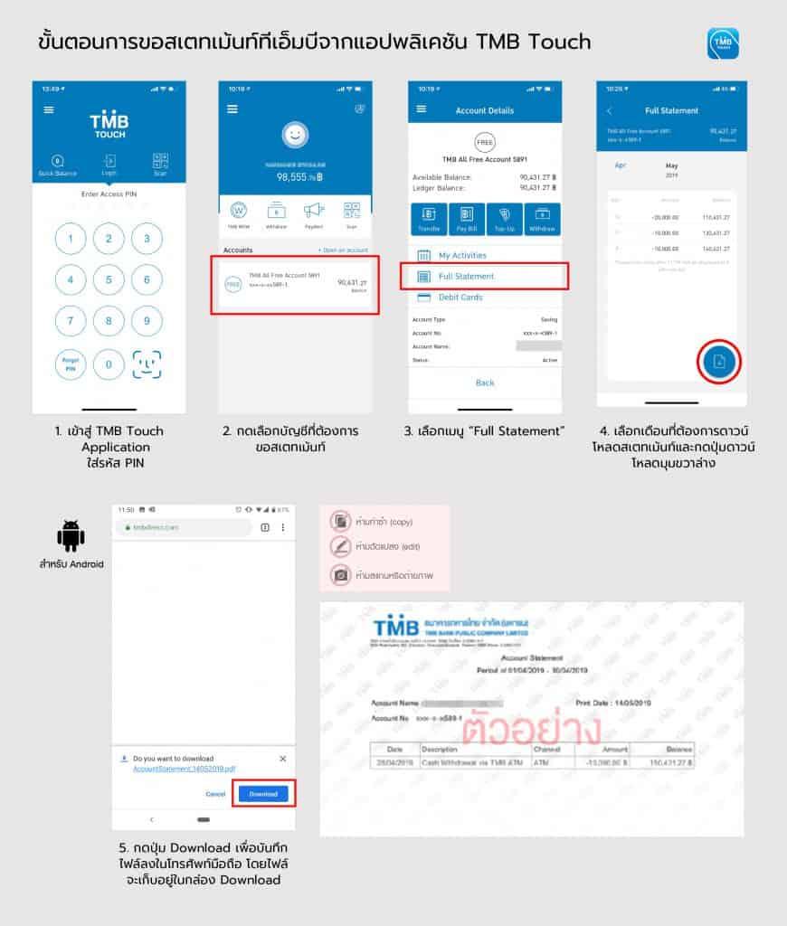 วิธีขอ e-statement ธนาคารทหารไทย TMB