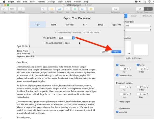 แปลงไฟล์ Pages เป็น PDF