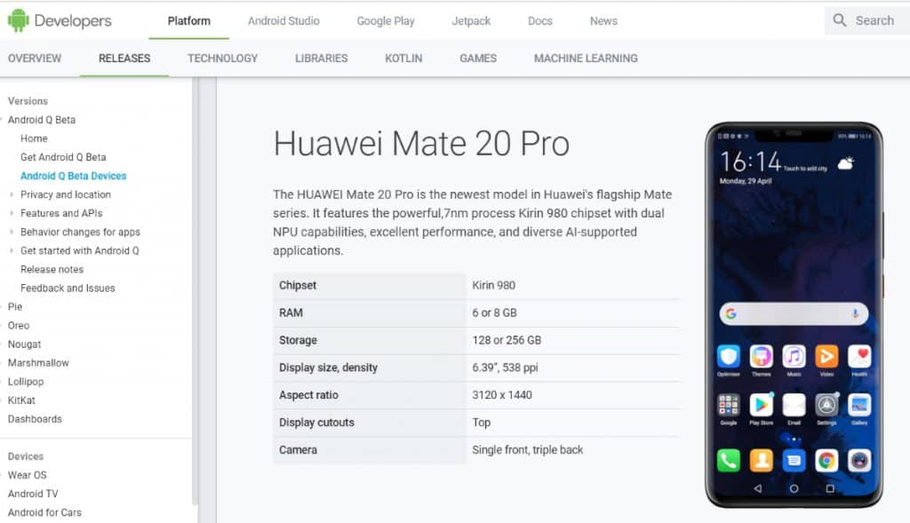Google ใส่ชื่อ Huawei mate 20 Pro