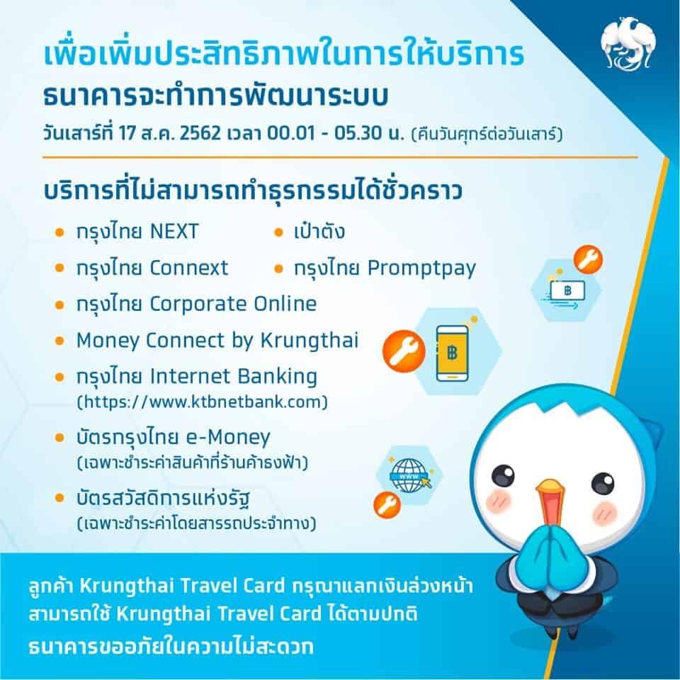 กรุงไทยปิดระบบคืนนี้