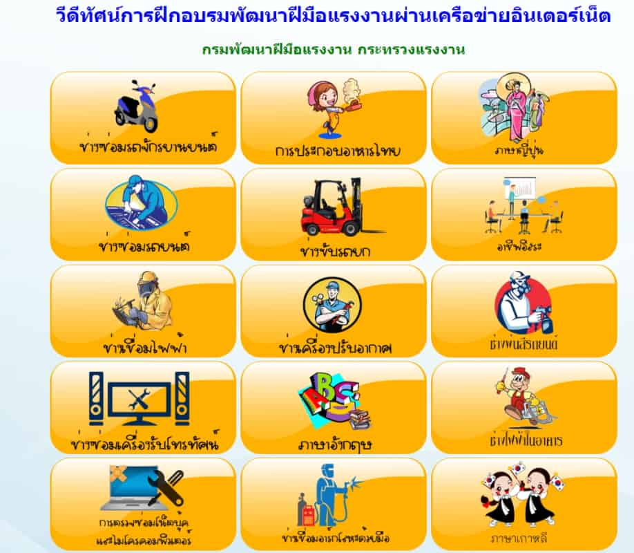 เว็บไซต์เรียนออนไลน์ 15 วิชาชีพ