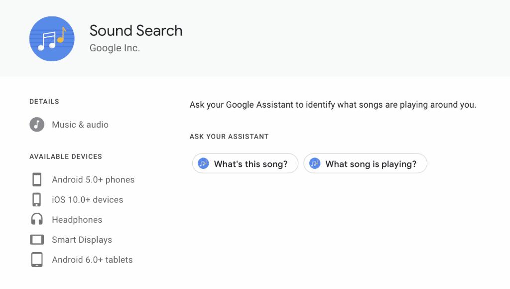 แอปตามหาเพลง Sound Search Google Assistant