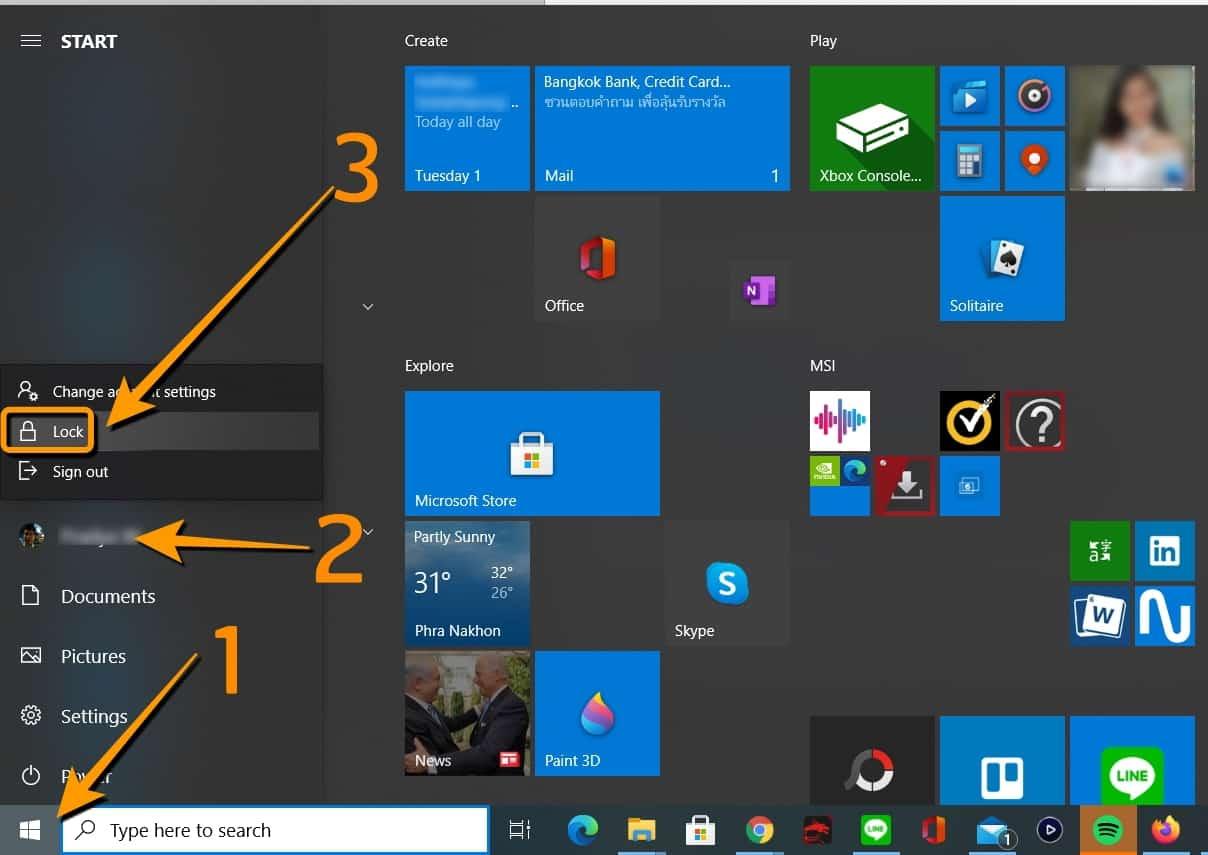 รวมวิธีล็อคคอม Windows10