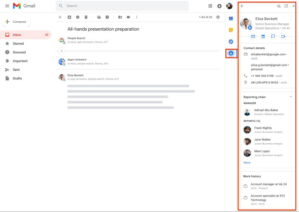 เว็บไซต์ Gmail แสดงรายชื่อเบอร์โทร