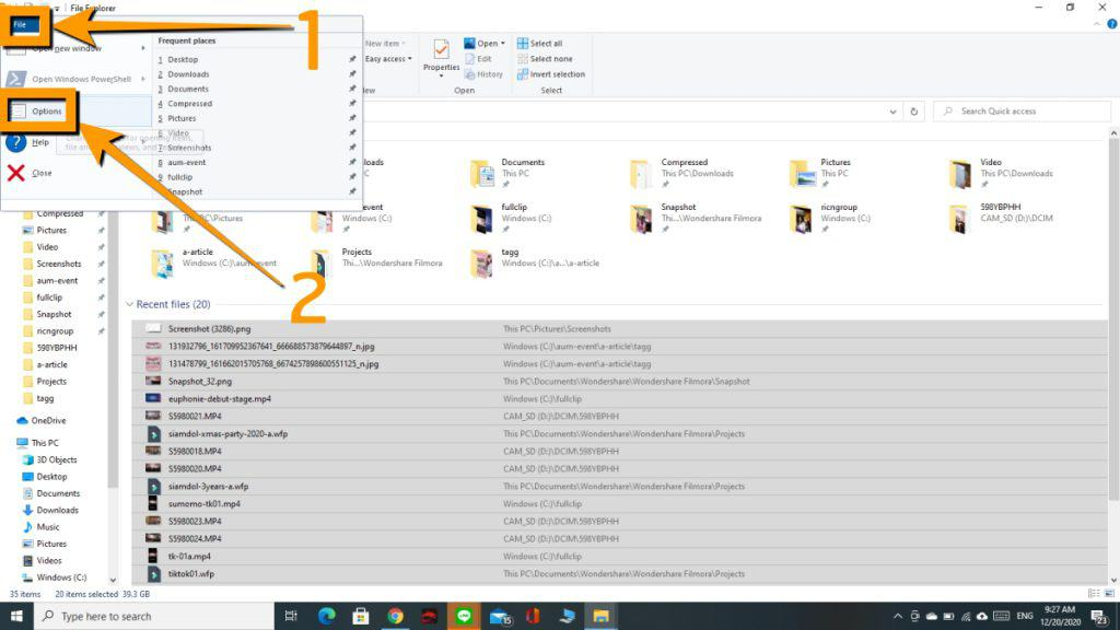 วิธีซ่อน Recent file ใน windows10