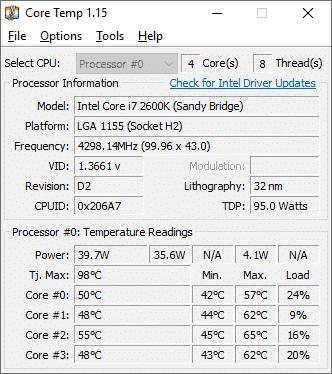 แอปดูอุณหภูมิซีพียูบน Windows10